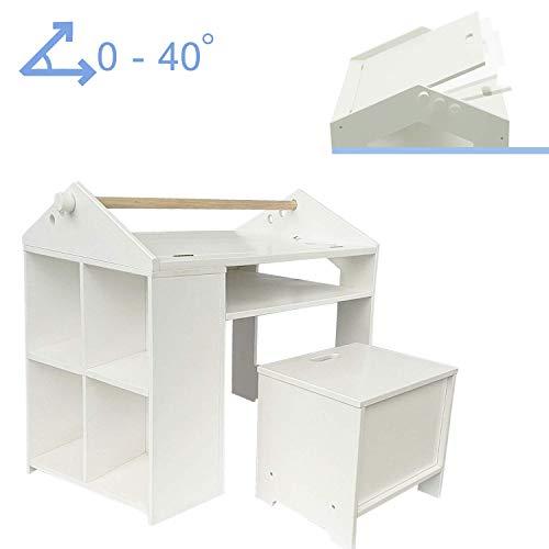 labebe - mesa de pintura blanca con silla para 1-5 años, juego de mesa de bebé/mesa pequeña/mesa para niños