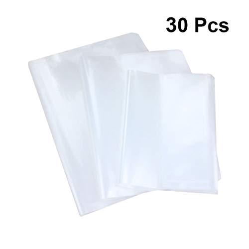 NUOBESTY cubierta de libro, funda de seguridad pp material impermeable nobuck transparente película autoadhesiva chaqueta de libro de ejercicios - 30 piezas, 21 * 15 cm / 26 * 19 cm / 30.5 * 21 cm