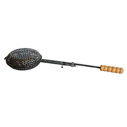 Arterameferro Poêle pour châtaignes grillées en fer avec manche en bois, pour la cheminée