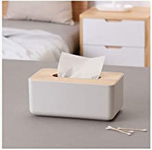 LWVAX® Removable Bamboo Wood Cover Plastic Tissue Box Holder Storage Organizer Fashion Tissue Holder Case for Home Decoration
