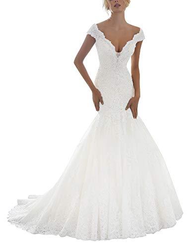 SongsurpriseMall V-Ausschnitt Hochzeitskleider Brautkleid Meerjungfrau Brautkleider für Damen Spitze Standesamt mit Perlen Weiß EU38