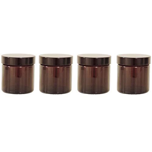 mikken 4 braune Glastiegel 60ml / Salbentiegel/Cremetiegel Braunglas inkl. Beschriftungsetiketten Glasdosen, Glas, 5.1 x 5.1 x 5.3 cm, 4-Einheiten