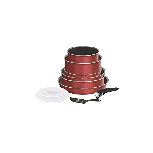 Tefal L2369002 Batterie De Cuisine 10 Pieces Ingenio Essential - Tous Feux Sauf Induction - Made In France - Rouge