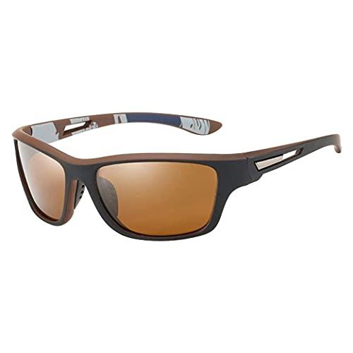 PEKLOKIW Gafas de sol para mujer con marco rectangular, diseño de purpurina, marco grande, reflectantes, vintage, lentes polarizadas de alta definición, marrón,
