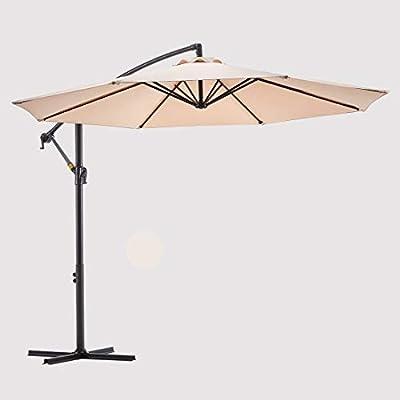 Le Conte Offset Umbrella 10ft Cantilever Patio Hanging Umbrella Outdoor Market Umbrellas with Crank & Cross Base (Beige)