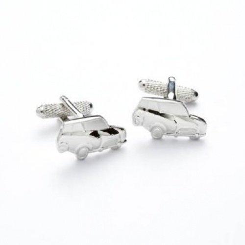 Mini rhodium plaqué Boutons de manchette dans une boîte cadeau – Voiture – Onyx-Art London Ck185