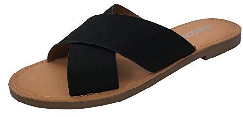 SODA Womens Wide Cross Straps Flat Slip-on Sandal, Black, 8.5