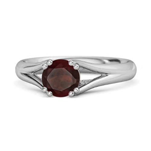 Shine Jewel Multi Elija su Solitario de Piedras Preciosas 0.25 Ctw Anillo Redondo de Plata de Ley 925 (10, Citrino)