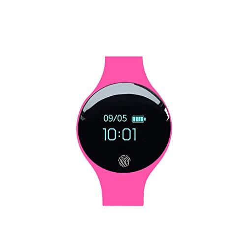Busirde Hombres Mujeres Inteligente Reloj Digital de Pantalla táctil Inteligente de Fitness Deporte Pulsera IP65 Resistente al Agua Reloj de Pulsera Rosa roja 250x37x6mm
