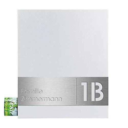 Design-Briefkasten mit Zeitungsfach signal-weiß (RAL 9003) MOCAVI Box 111 Postkasten mit Hausnummer und Name V4A-Edelstahl graviert modern groß DIN A4