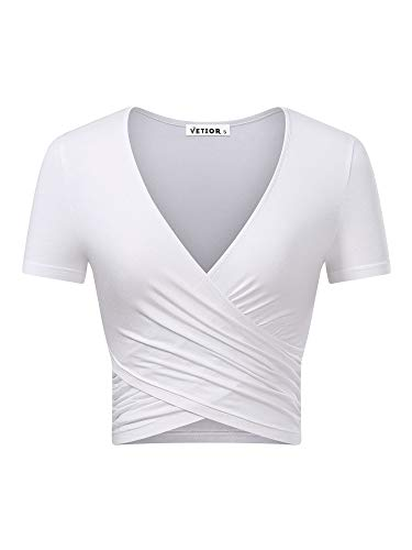 VETIOR Women's Deep V Neck Short Sleeve Unique Cross Wrap Slim Fit Crop Tops (Small, White.)