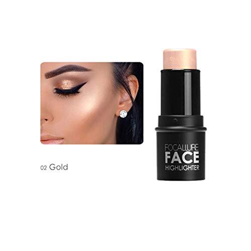 CCbeauty Face Highlighter Makeup Sticks Cream Shimmer Highlight Stick Long Lasting Contour Cosmetics Powder Foundation Stick,Gold