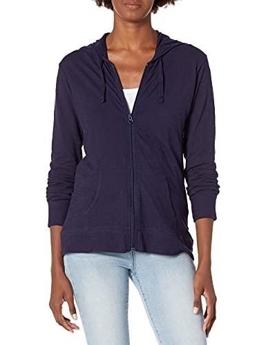 Hanes Women's Jersey Full Zip Hoodie, Navy, Large