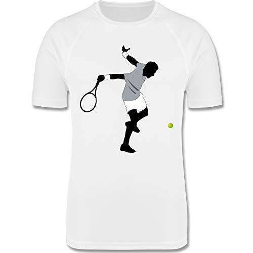 Sport Kind - Tennis Squash Spieler - 116 (5/6 Jahre) - Weiß - Tennis Shirt 152 - F350K - atmungsaktives Laufshirt/Funktionsshirt für Mädchen und Jungen