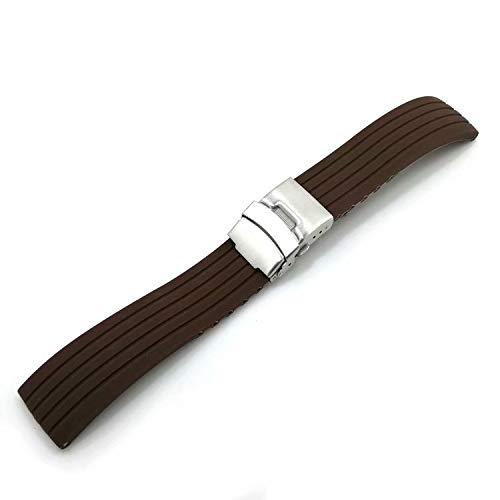 XiZiMi 20mm Cinturino cinturino orologio in gomma siliconica impermeabile fibbia deployante Coffee