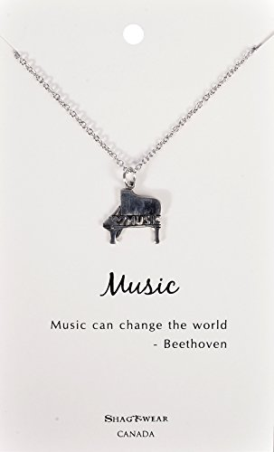 Shag Wear Dream and Music Inspirations Quote Pendant Necklace (Piano Music)