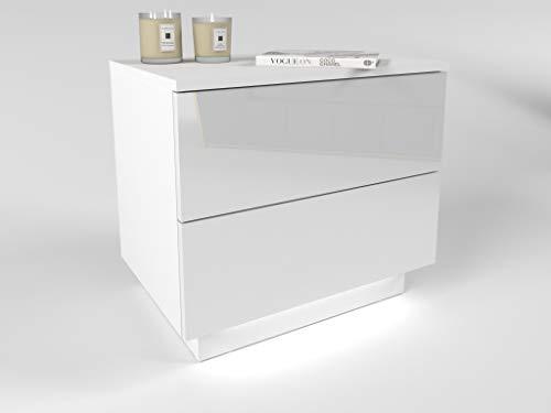 Nachttisch Lina mit Schubladen und LED Beleuchtung Push to Open System Weiß Hochglanz HG Schlafzimmer Nachtkonsole Nachtschrank Beistelltisch (weiß/weiß Hochglanz)