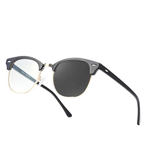 kimorn Photochrom Blaulichtfilter Brille Halb-Randlos- computerbrille - Anti Müdigkeit, Anti Blaulicht (TV, PC, Bildschirme…) Für verbesserten Schlaf KS101 (Rahmen aus glänzendem Schwarzgold)