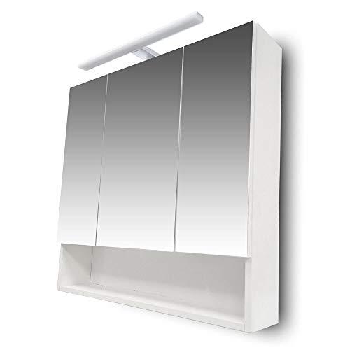 Homedesign MK Spiegelschrank JEVEL 2 Weiß Badezimmer Bad Spiegel Badspiegel Wandspiegel
