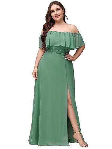 Ever-Pretty Vestido para Invitada de Boda Talla Grande Gasa Corte Imperio Hombros...
