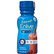 Ensure Enlive Advanced Therapeutic Nutrition Shake, Institutional, Strawberry, 8 oz Bottle PK24