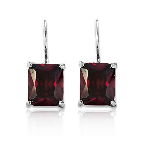 SHABLOOL Earring Sterling Silver 925 With Red Faceted Garnet Zircon Gemstone You're A Gem Earrings Woman An Essential Gift For Her Beautiful Fine Detailing Handmade Jewelry Mother's Day Birthday