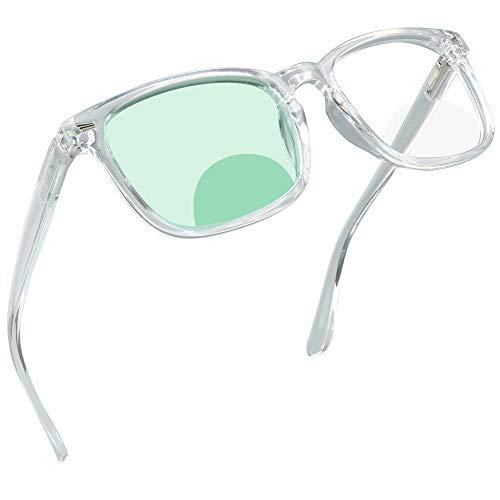 Bifocal Reading Glasses with Blue Light Blocking Lenses, Bifocal Reader for Women and Men, Vintage Square frame with Spring Hinge (+0.00/+1.50 magnification)