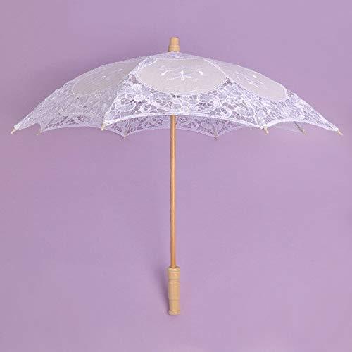 NJSDDB paraplu Wit Handgemaakte Geborduurde Kant Parasol Zon Paraplu Bruids Bruiloft Verjaardag Party Decoratie Props paraplu U08034, Kleur: wit