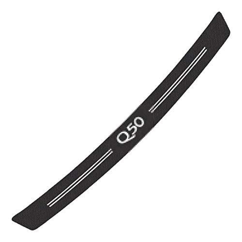 MNBX para Infiniti Q50 Pegatinas de Carbono Protector de Parachoques Trasero Puerta Sill Kick Scuff Pedal Sticker, Auto Trunk Plate Scuff Anti-Scratch Trim Protection Strip Sticker