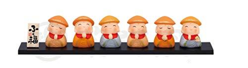 薬師窯(yakushigama) おかげさまありがとう 錦彩ふく福六地蔵(小) 笠 高さ4cm×横巾22cm 和楽づくし 1347
