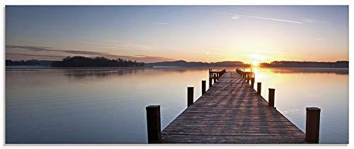Artland Glasbilder Wandbild Glas Bild einteilig 125x50 cm Querformat Natur Landschaft See Sonnenuntergang Steg Wald Himmel Sonne T9MV