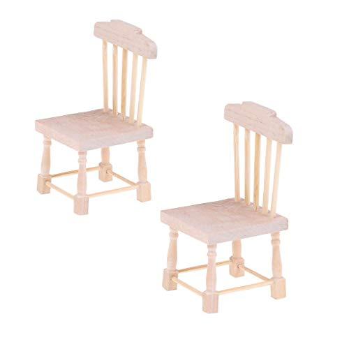 Diyiming 1:12 DIY Puppenhaus, Holzstuhl, Puppenhaus, Esszimmerstuhl, Barhocker, Dekoration, Mini-Holzstühle, Modell, kleines Puppenhaus, Stuhl-Set, Miniatur-Feenhaus, Möbelzubehör