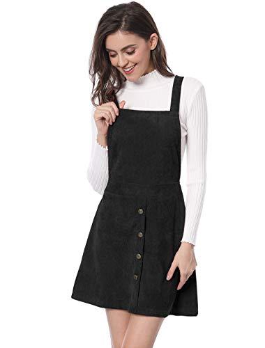 Allegra K Damen A Linie Button Dekor Cord Latzkleid Kleid Schwarz XL