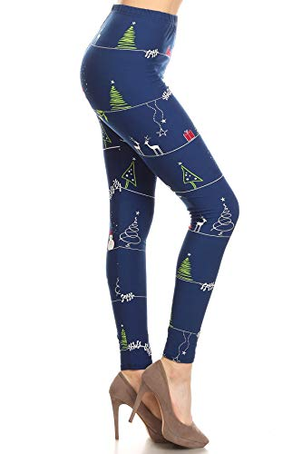 S657-OS Christmas Thread Print Fashion Leggings, One Size