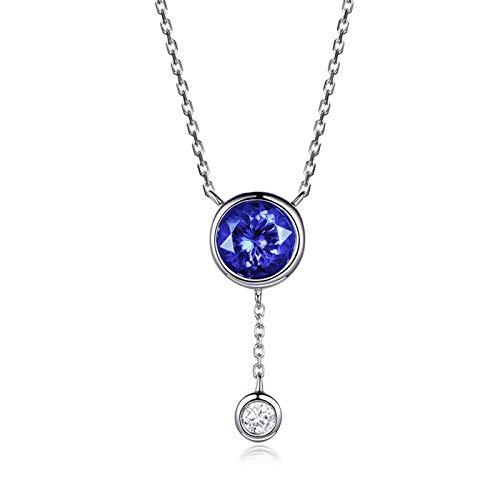 Bishilin Oro Blanco 18K Collar de Oro Blanco con Colgante Azul Tansanita Pendientes Redondo con Borla Colgante con EURena Ajuste Cómodo Azul Plateado Collar para Aniversario de Boda Longitud45Cm