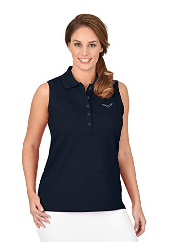 Trigema Damen Swarovski Kristallen Poloshirt, Blau (Navy 046), 52 (Herstellergröße: XXL)