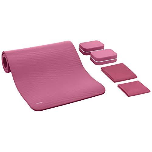 AmazonBasics Yogamatte, 1,27 cm dick, 6-teiliges Set, Rosa