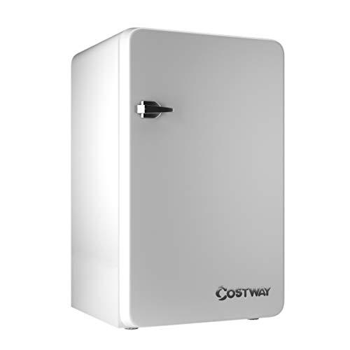 COSTWAY Refrigerator, 3.2 cu. ft. Single Door, Compact Small Under Counter Mini Refrigerator, Fridge Freezer Cooler Unit w/Handle for Dorm, Office, Apartment (White)