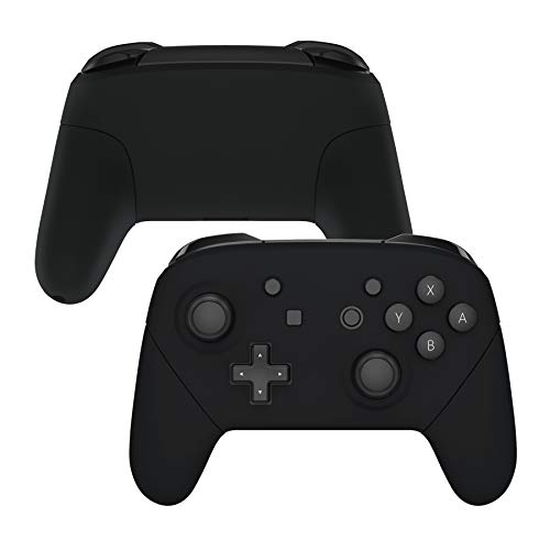 eXtremeRate Black Faceplate Backplate Handles for Nintendo Switch Pro Controller, Soft Touch DIY Replacement Grip Housing Shell Cover for Nintendo Switch Pro - Controller NOT Included