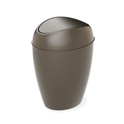 umbra Twirla Gote de Basura de 8.3 L con Tapa abatible, Negro, Gris Shadow, 2.2 Gallon, 1