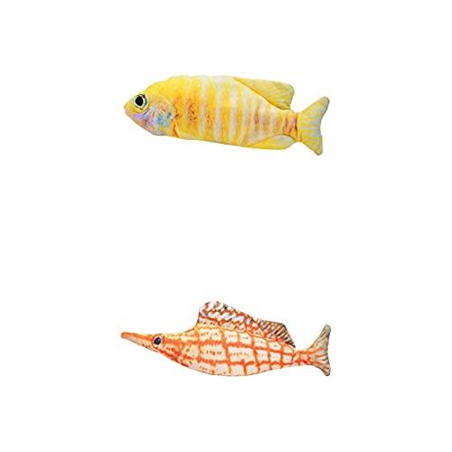 MagiDeal 2X Bewegt Fischspielzeug Plüsch Elektrische Wagging Spielzeug Pipefish + Gelb Gestreiften Fisch