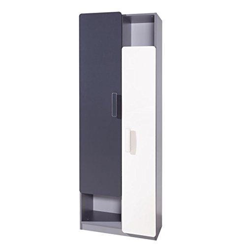 Regal Lido R2D, Drehtürenschrank, Garderoben, Kleiderschrank, Modernes Schrank für Jugendzimmer Kinderzimmer (Aschgrau/Grafit + Weiß)