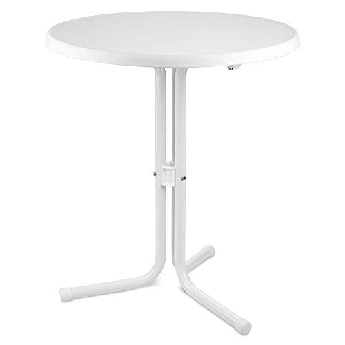 Beautissu Bistrotisch Ø 60 cm – Emma Beistelltisch Weiss – Gartentisch rund Stehtisch 70 cm hoch – Wetterfester Outdoor Tisch Made in Germany