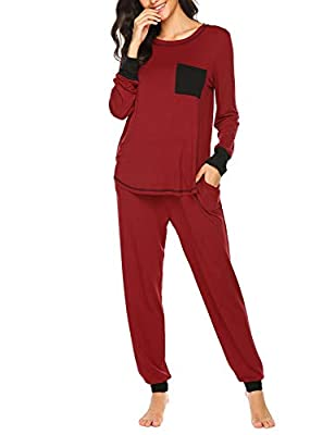 Ekouaer Long Sleeve Pajama Set 2 Piece Base Layer Thermal Underwear Set for Women (Red, Small)