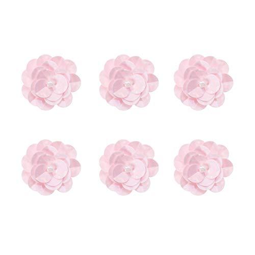 SUPVOX 18 piezas de apliques de flores 3D para coser en flores, lentejuelas, bordado, tela de encaje para vestido de novia, accesorio de tela (rosa)