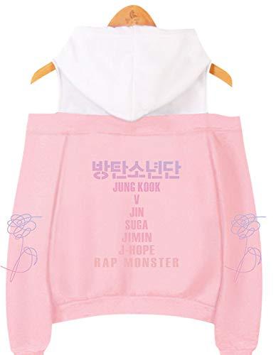 SIMYJOY Mujeres Korea Pop Fans Sudadera con Capucha sin Hombro Miembros de Korea Pop Jumper Girls Off Hombro KPOP Street Fashion Top Bonito Regalo para K-Pop Pink XS