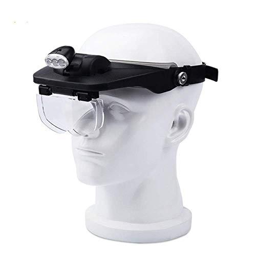 Lupa para audífonos con lupa para la cabeza con luces LED para lectura de hombres antiguos, grabado, teléfono móvil, reloj, lentes ópticas, audífonos negros, lupa para casco, color negro