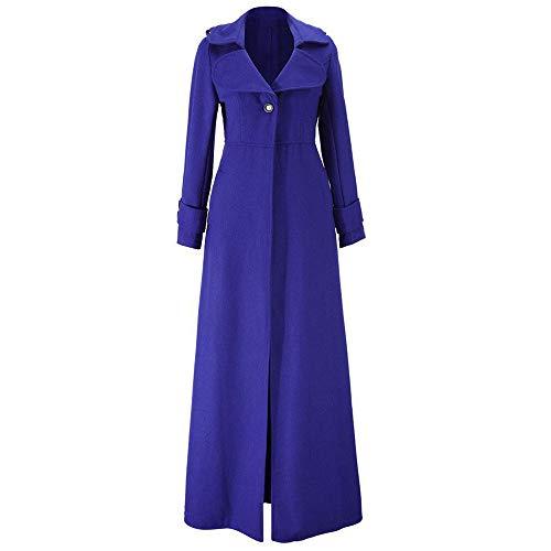 NEEKY Damen Wintermode Revers Schmaler Trenchcoat Lässige Knopf Jacke Lange Parka Mantel Outwear(EU:40/2XL, Dunkelblau)