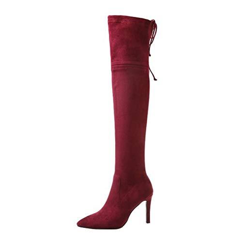 LHZHH Zapatos para Mujer, Botas Stiletto por Encima De La Rodilla, Sexy Botas Elásticas De Tacón Alto con Punta Puntiaguda, Botas Femeninas con Cordones En La Espalda (Color : Wine Red, Size : 38 EU)
