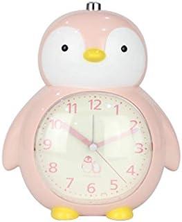 Renfengchui kreativ tecknad pingvinklocka barnstudent tvåtonat larm nattlampa sovrum sängbord tyst snooze väckarklocka D